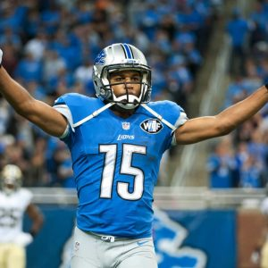 Oct 19, 2014; Detroit, MI, USA; Detroit Lions wide receiver Golden Tate (15) celebrates his touchdown during the fourth quarter against the New Orleans Saints at Ford Field. Detroit won 24-23. Mandatory Credit: Tim Fuller-USA TODAY Sports