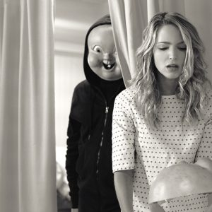 """(from left) """"Babyface"""" and Tree (Jessica Rothe) in """"Happy Death Day 2U,"""" written and directed by Christopher Landon."""